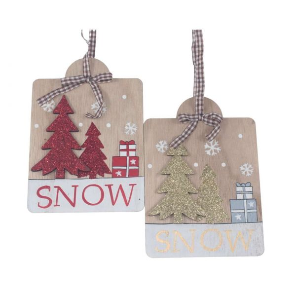 Weihnachtsanhänger Holz, Glitzerbäume, sortiert
