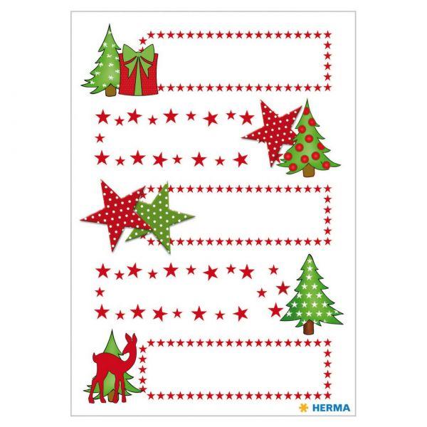 Geschenketiketten: Sterne Tanne