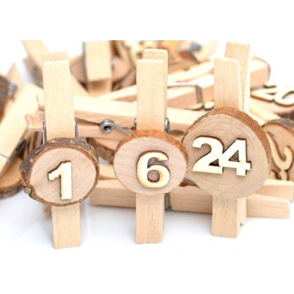 24 Holzklammern Holzscheibe weiß