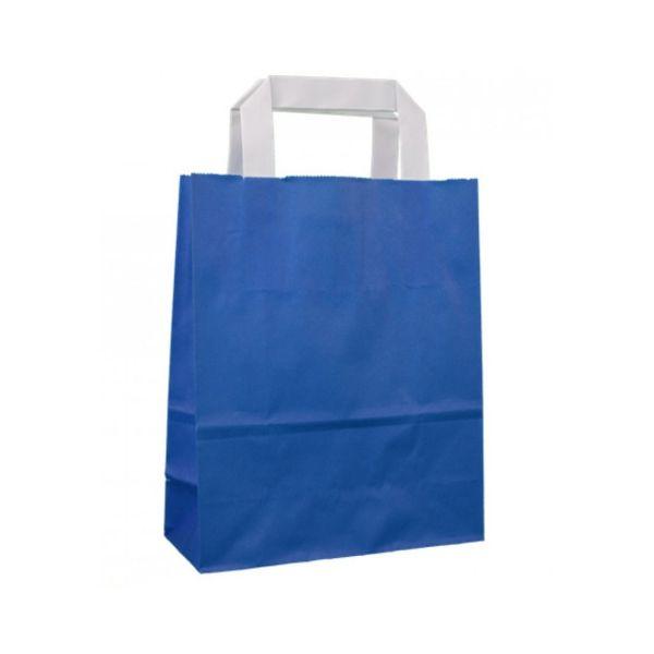 Kraftpapiertüte mit Henkel, blau, 22 x 18 x 8 cm