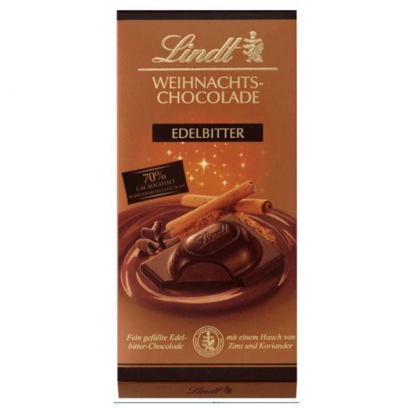 Lindt Weihnachtsschokolade Edelbitter, 100 g