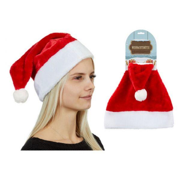 Weihnachtsmütze Kuschel, rot/weiß