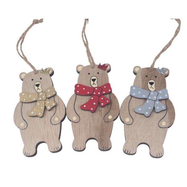 Weihnachtsanhänger Holz, Teddybär, sortiert