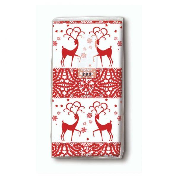 Taschentuch Weihnachten Rote Hirsche, 10er Pack