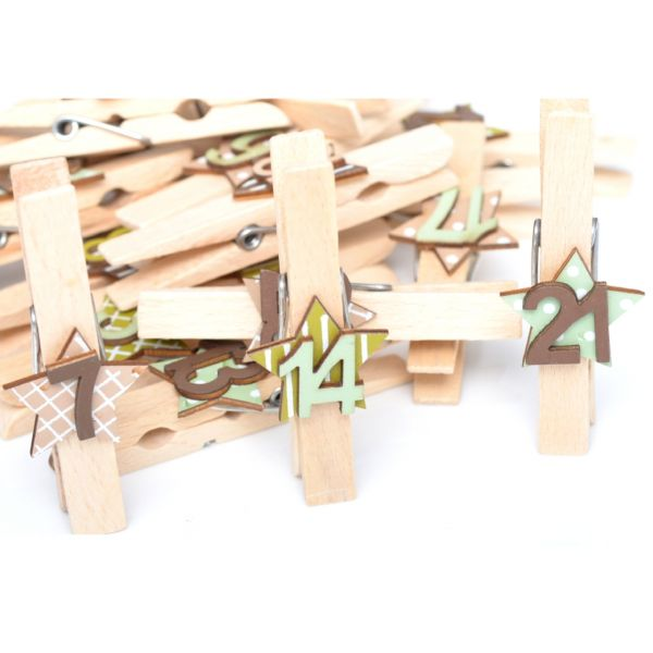 24 Holzklammern minzgrün-braun
