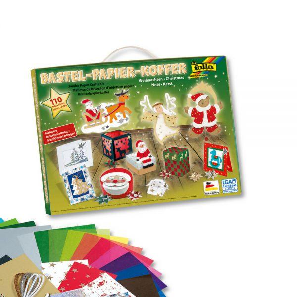 Bastelkoffer Weihnachten mit Bastelanleitung + Schmittmuster, 110 Teile folia