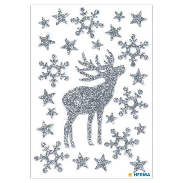 Weihnachtsaufkleber: Hirsch glittery