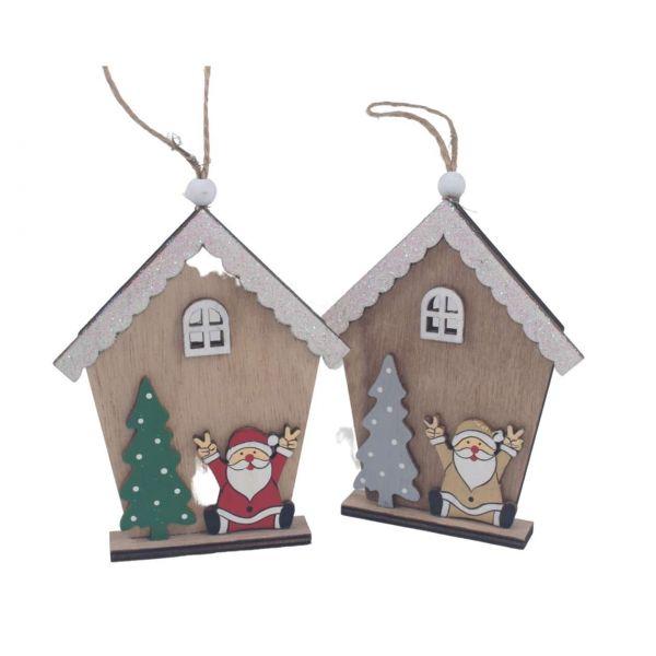 Weihnachtsanhänger Holz, Holzhaus, sortiert