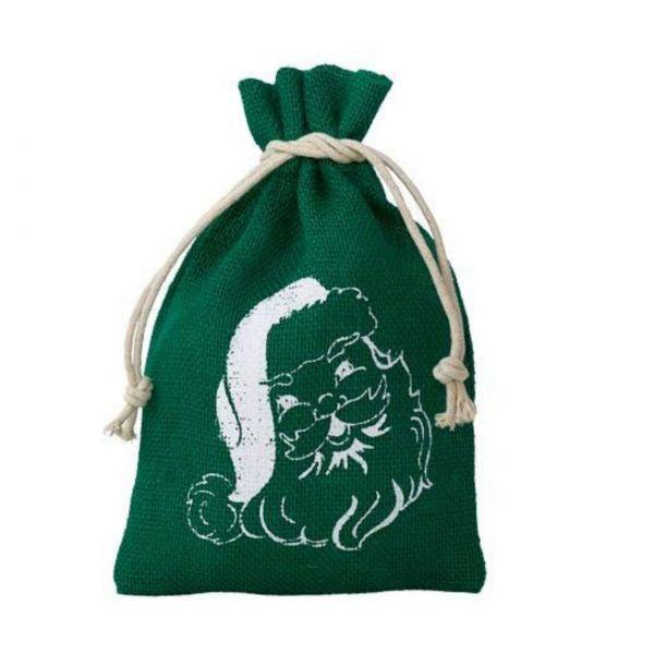Jutesäckchen Santa Claus, grün, 23 x 15 cm