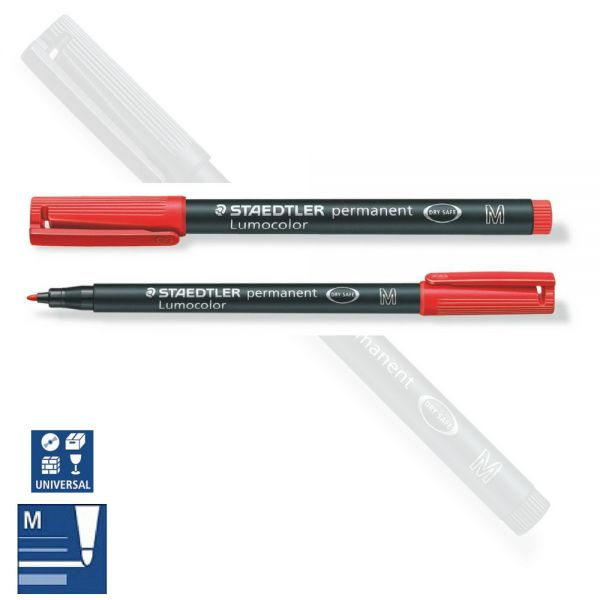 BB Folienstift permanent M, medium, rot, Staedtler