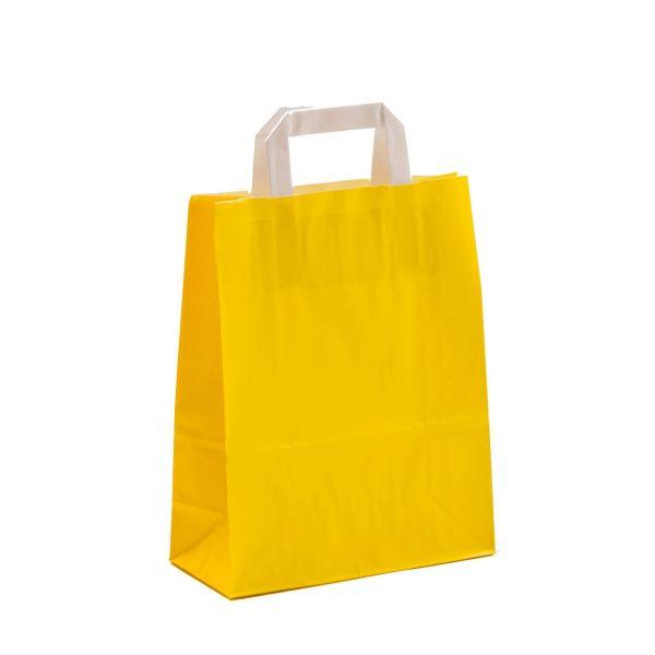 Kraftpapiertüte mit Henkel, gelb, 22 x 18 x 8 cm