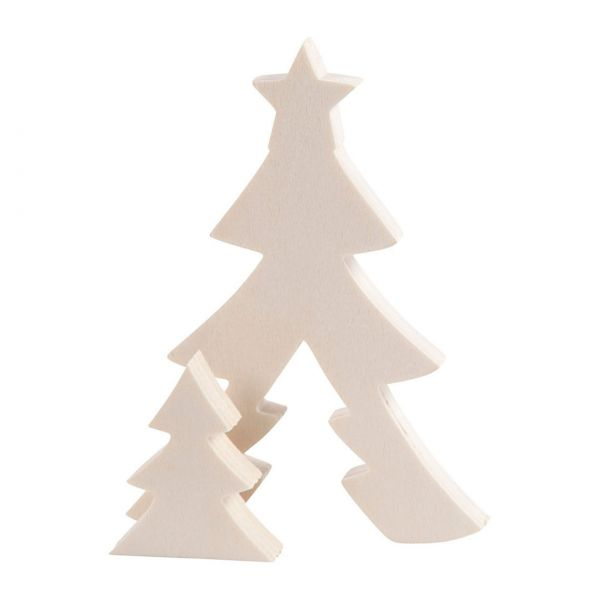 Holzrohling Weihnachtsbäume, 2 in 1