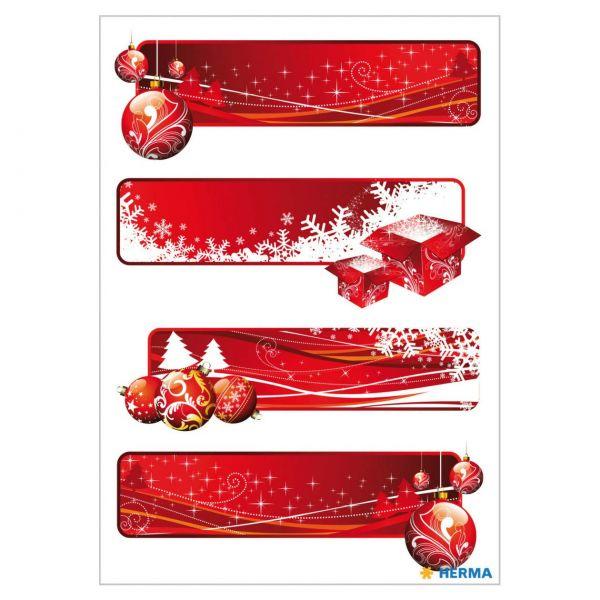 Geschenketiketten: Rot beglimmert