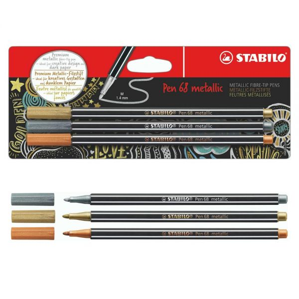 Stabilo metallic Pen 68: gold, silber, kupfer