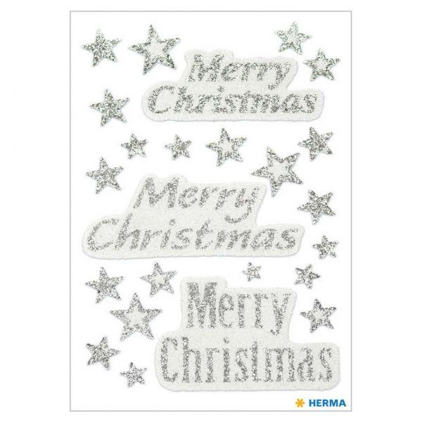 Weihnachtsaufkleber: Merry Christmas glittery