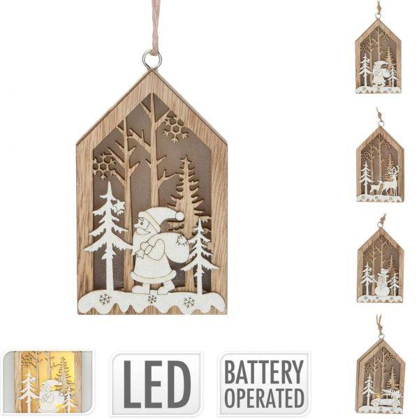 Hängedeko Weihnachten mit LED, Haus, sortiert