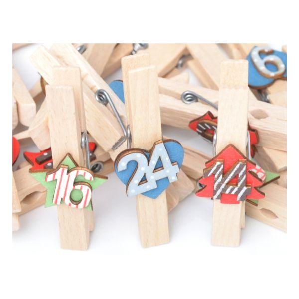 24 Holzklammern blau-rot-grün