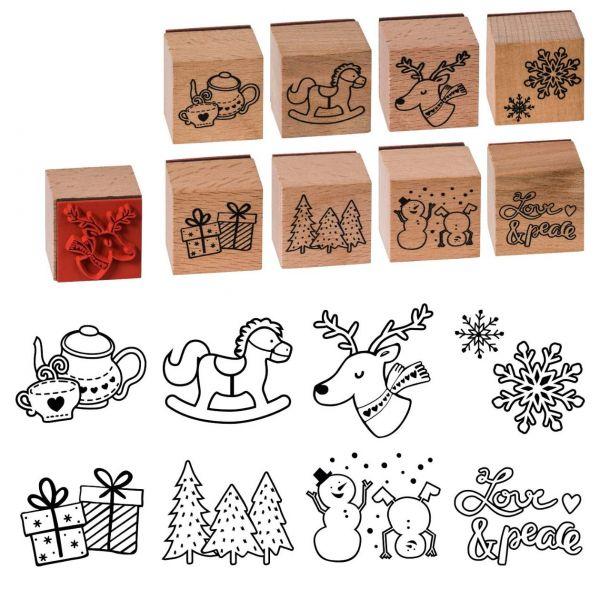 Weihnachtsstempel Holz klein, 8-fach sortiert