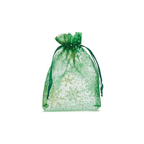 Organzabeutel Weihnachten, 10 x 7,5 cm, grün Winterwunderland