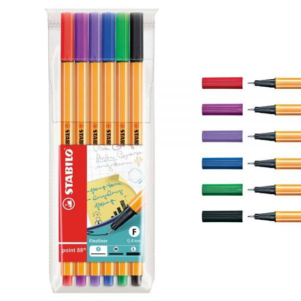 Fineliner Stabilo point 88: 6 Farben
