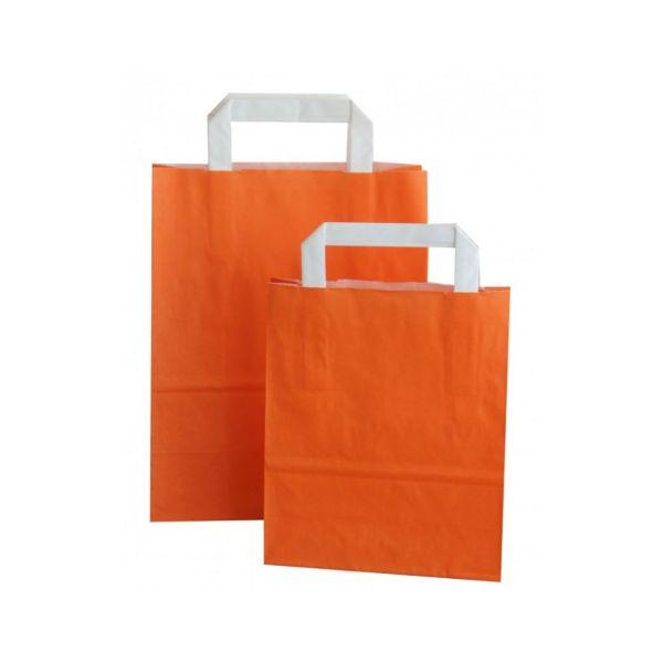 Kraftpapiertüte mit Henkel, orange, 22 x 18 x 8 cm
