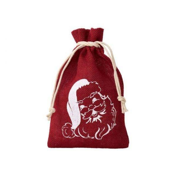 Jutesäckchen Santa Claus, rot, 15 x 10 cm