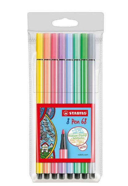 Stabilo Pastell-Fasermaler Pen 68: 8 Farben