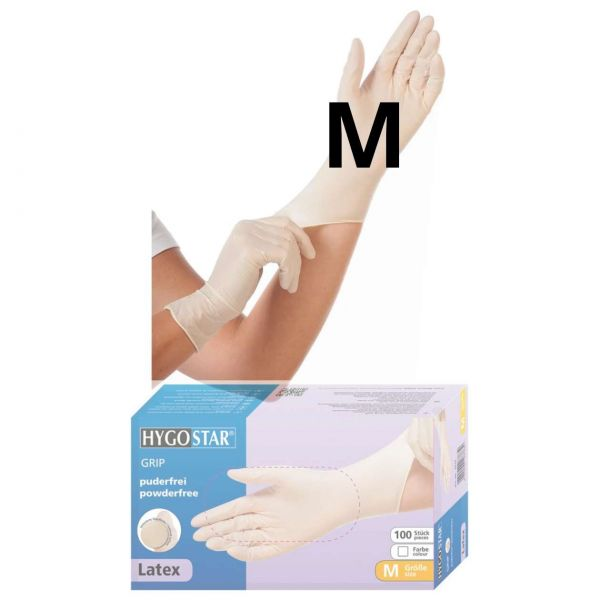 Einweghandschuhe Latex, Größe M, puderfrei, Hygonorm