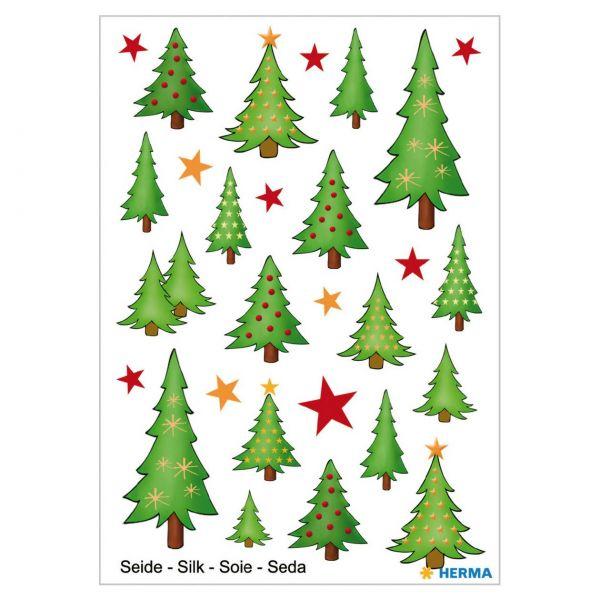 Weihnachtsaufkleber: Tannenbäume, Seidensticker