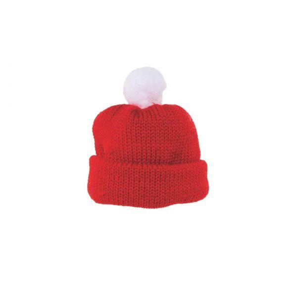 Bommelmütze rot, Durchmesser 8 cm