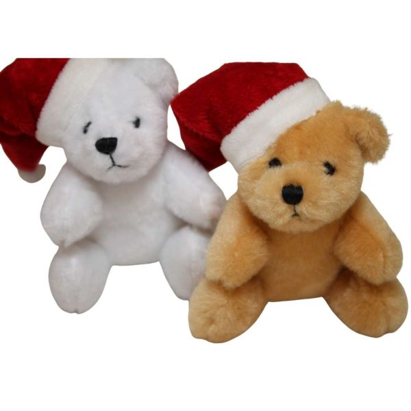 Weihnachtsteddy mit Santamütze, sortiert