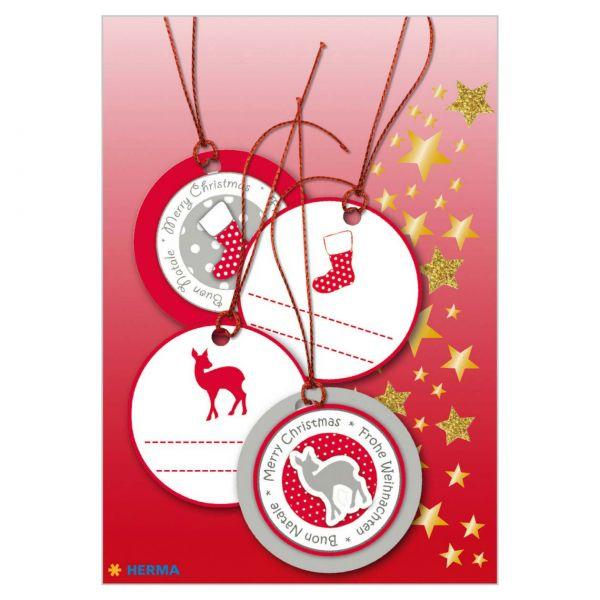Geschenkanhänger Weihnachten: 3D Rot-Silber