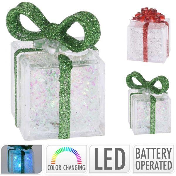 LED Dekogeschenk, rot oder grün