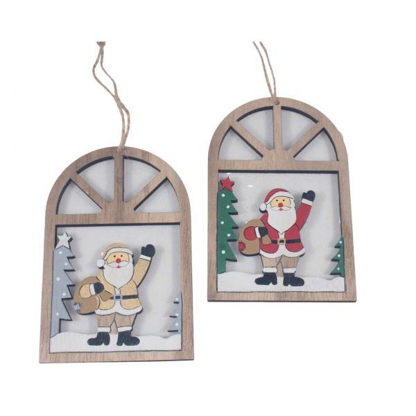 Weihnachtsanhänger Holz, Fensterbild Weihnachtsmann, sortiert