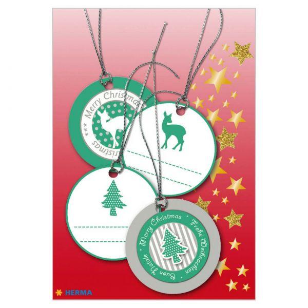Geschenkanhänger Weihnachten: 3D Grün-Silber